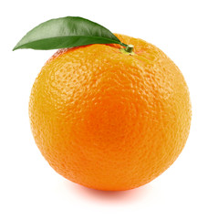 Juicy orange with leaf