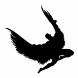 Angel silhouette flying vector