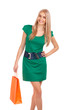 Beautiful blond woman holding shopping bag