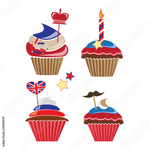 set of cupcakes for United Kingdom party