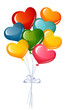 Bunch of colorful heart balloons