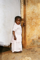 Cute but sad little African girl