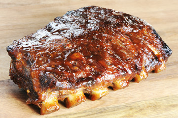 Grilled juicy barbecue pork ribs.