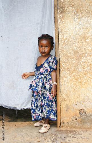 Fotobehang Overige Serious little African girl