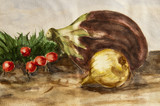 watercolor of eggplant, onion, radishes