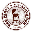 Stamp with the word BBQ party written inside the stamp, vector
