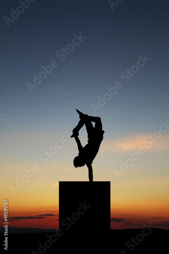 handstand in sunset