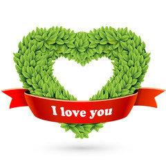 Heart of leaves with red ribbon and text