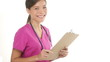 Medical nurse doctor woman writing on clipboard