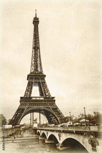 Fototapeta La tour eiffel sépia effet ancienne photo carte postale