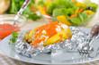 Backkartoffel mit Kräuterquark und Forellenkaviar