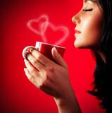 Fototapety Beautiful lady drinking coffee