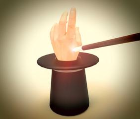 Gorro de mago con mano y varita mágica
