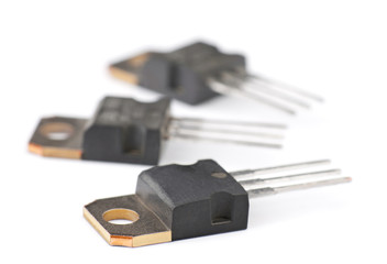 Modern semiconductor transistors, isolated on white