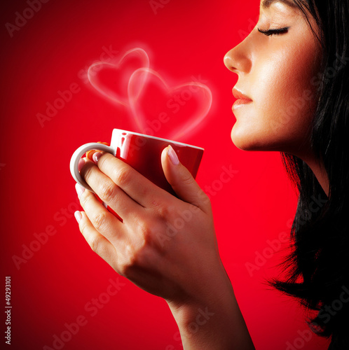 Beautiful lady drinking coffee