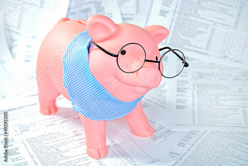 piggy bank on tax forms