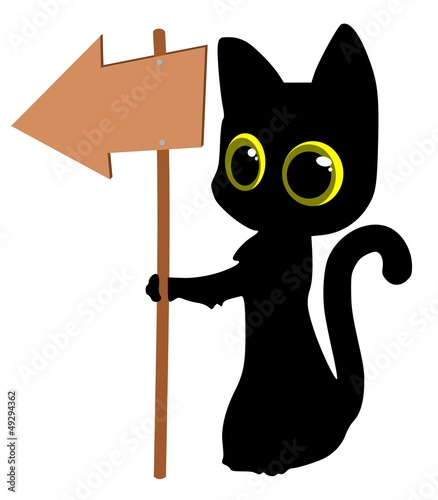 Cat with a wooden arrow sign