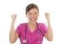 Medical nurse doctor cheering, celebrating and dancing