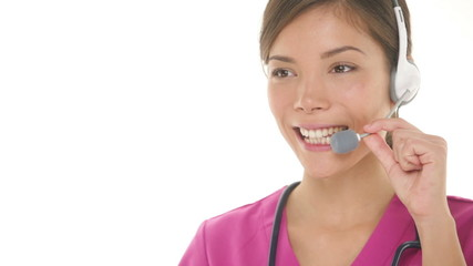 Medical nurse doctor headset call center hotline secretary