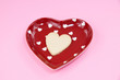 Valentine cookie on heart plate