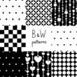 Various black and white seamless patterns set, vector