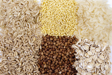 set of cereals: rice, millet, buckwheat, oatmeal