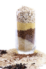 isolated set of cereals in glass