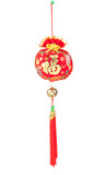 Chinese wind chime in red color isolated on white poster