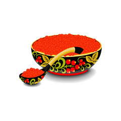 Red caviar on the wooden spoon and bowl painted in style hohloma