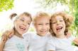 Low angle view portrait of happy children