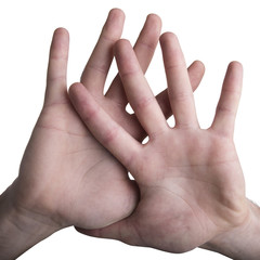 Mani con dita aperte