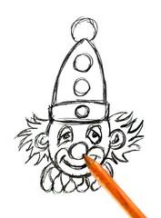 clown dessin au crayon