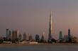 Dubai Skyline at dusk looking from Jumeirah Beach