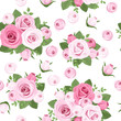 Seamless background with pink roses on white. Vector.