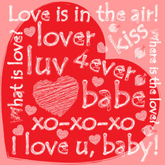 Grunge valentine heart with doodles
