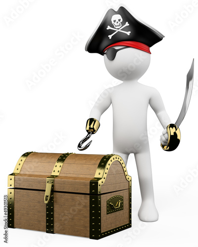 3D white people. Pirate with treasure