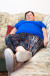 Obese senior woman sleeping