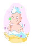 baby bathing and playing with soap bubbles