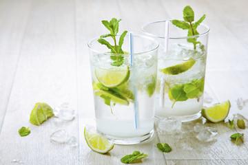 Two fresh mojitos cocktail