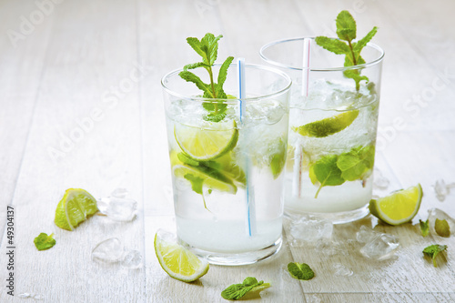 Two fresh mojitos cocktail