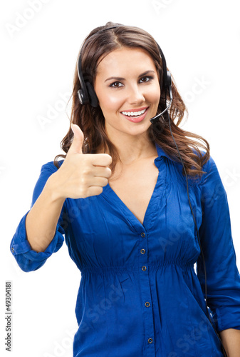Support phone operator showing thumbs up, isolated