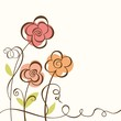 Floral background. Vector illustration  with three flowers.