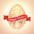 Vector ornate Easter egg with greeting on red ribbon