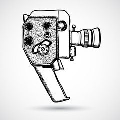 Doodle Vintage movie camera illustration