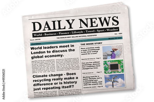 Daily Newspaper Mock up with fake articles - 49306521
