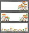 Set of web banners. City theme. Vector