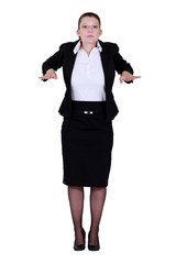 Businesswoman with palms out flat
