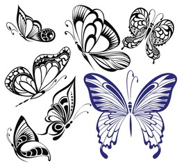 Collection black and white butterflies.Tattoo design