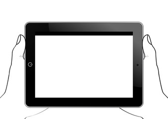 Ecran tactile - mains qui portent un écran