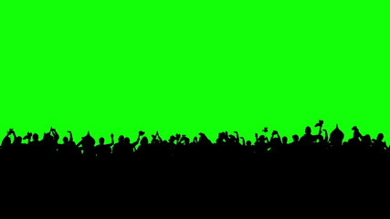 Crowd of people. Green screen.